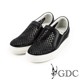 【GDC】水鑽寶石格紋簍空內增高懶人休閒鞋-黑色(714614)