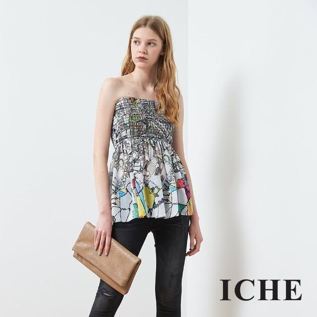 【ICHE 衣哲】度假印花時尚平口造型上衣
