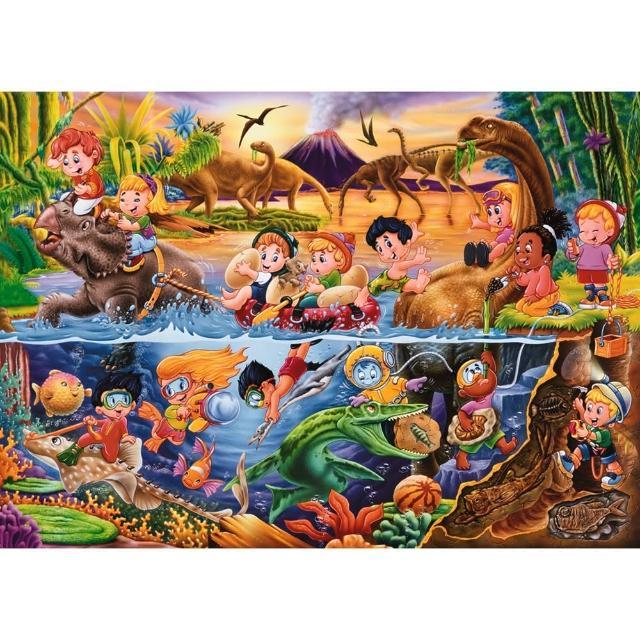 【Jo醬紙玩-】54片兒童拼圖-恐龍樂園(新年元旦兒童玩具禮物 超人氣54片兒童地板拼圖)
