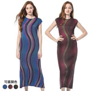 【玩美衣櫃】繽紛圓領無袖流線條紋壓摺洋裝(共三色)