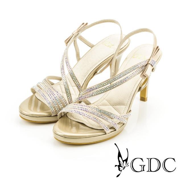 【GDC】都會時尚水鑽寶石繞帶側蝴蝶高跟涼鞋-金色(713299)