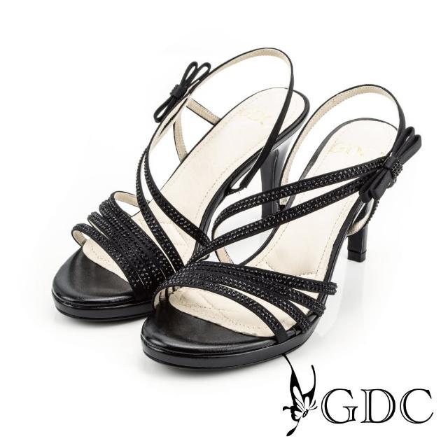 【GDC】都會時尚水鑽寶石繞帶側蝴蝶高跟涼鞋-黑色(713299)