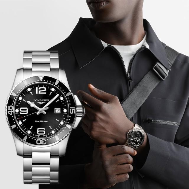 【LONGINES】浪琴 征服者300米潛水石英腕錶-黑x銀/44mm(L38404566)