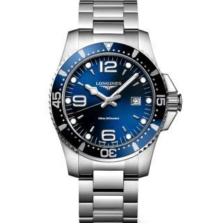 【LONGINES】浪琴 征服者300米潛水石英腕錶-藍/44mm(L38404966)