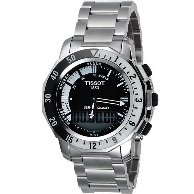 【TISSOT】SEA-TOUCH 怒海潛將觸控潛水鍊帶錶-黑/44mm(T0264201105100)