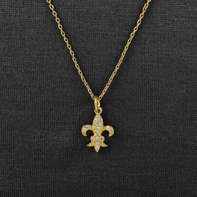 【Annabena】迷你法皇室徽章霧金鋯石短鍊