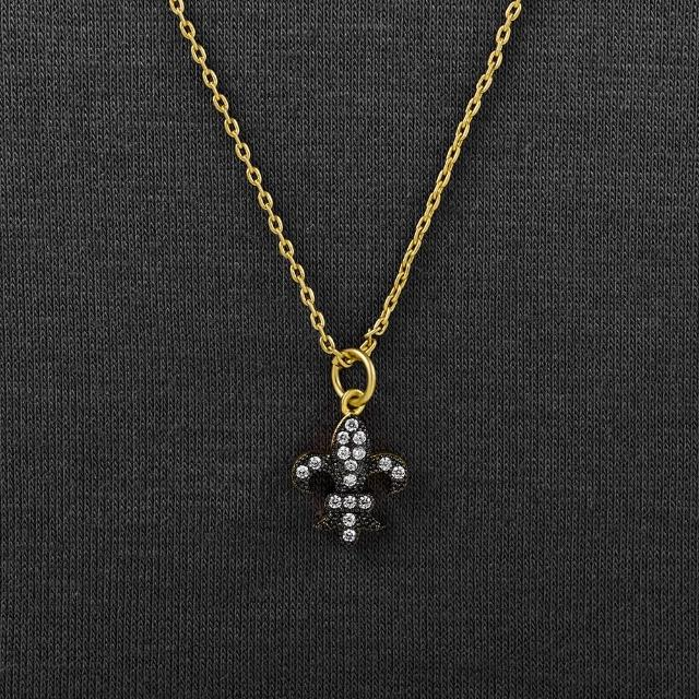 【Annabena】迷你法皇室徽章烏金鋯石短鍊
