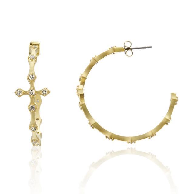 【Annabena】黃K十字鋯石細中耳環