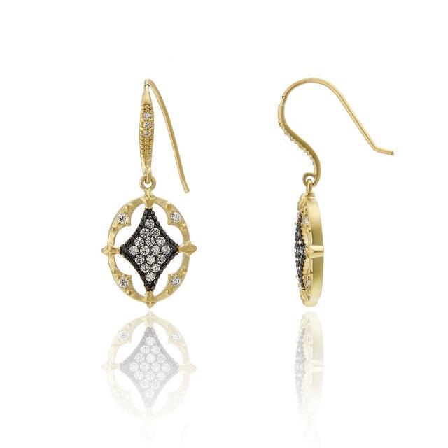 【Annabena】菱形烏金密鑲鋯石雙色金橢圓耳勾式耳環