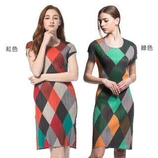 【玩美衣櫃】亮麗格子圓領短袖壓摺洋裝(共兩色)