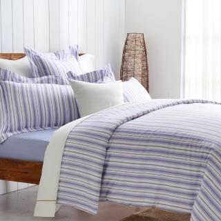 【Cozy inn】生活-藍 300織精梳棉四件式被套床包組(特大)