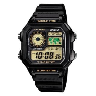 【CASIO】十年電池數位錶-黃面(AE-1200WH-1B)