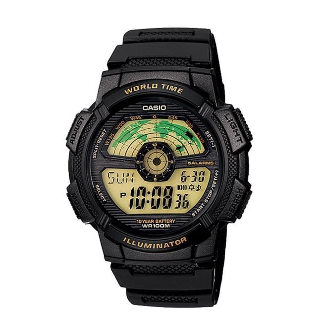 【CASIO】飛行時光地圖錶-黃面(AE-1100W-1B)