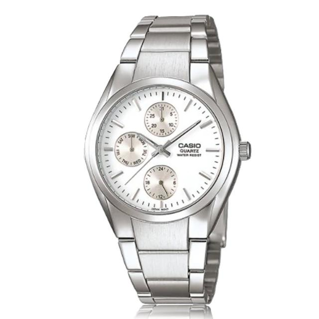 【CASIO 卡西歐】送禮首選 三眼計時 不鏽鋼錶帶 指針男錶(MTP-1191A)