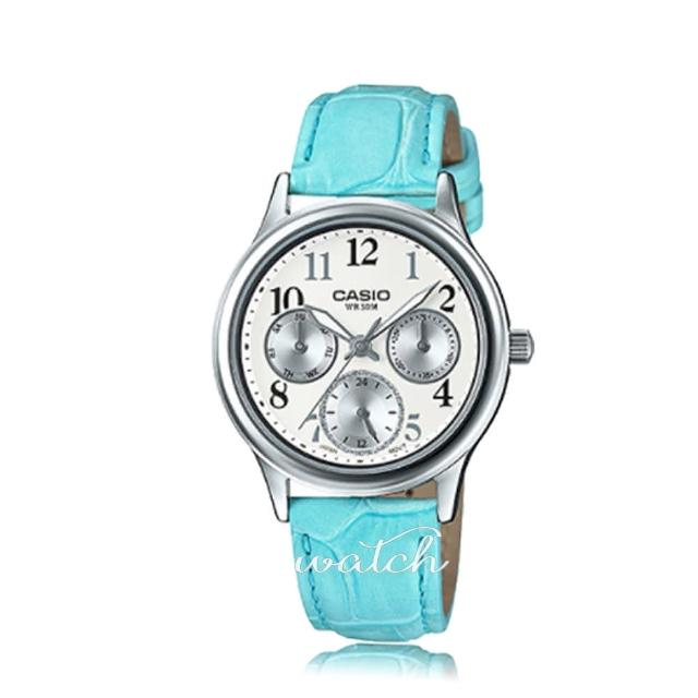 【CASIO 卡西歐】日系經典-三眼 皮革錶帶數字淑女錶 鏡面3.cm(LTP-E306L)