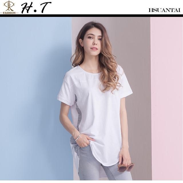 【玄太】透氣棉質特色條紋長版上衣(白色)