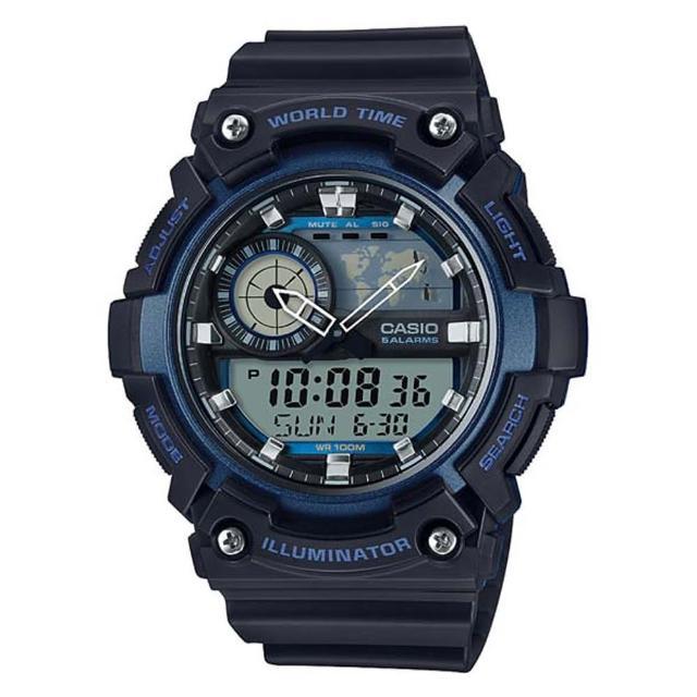 【CASIO】科技數位世界時間概念造型雙顯錶-藍(AEQ-200W-2A)