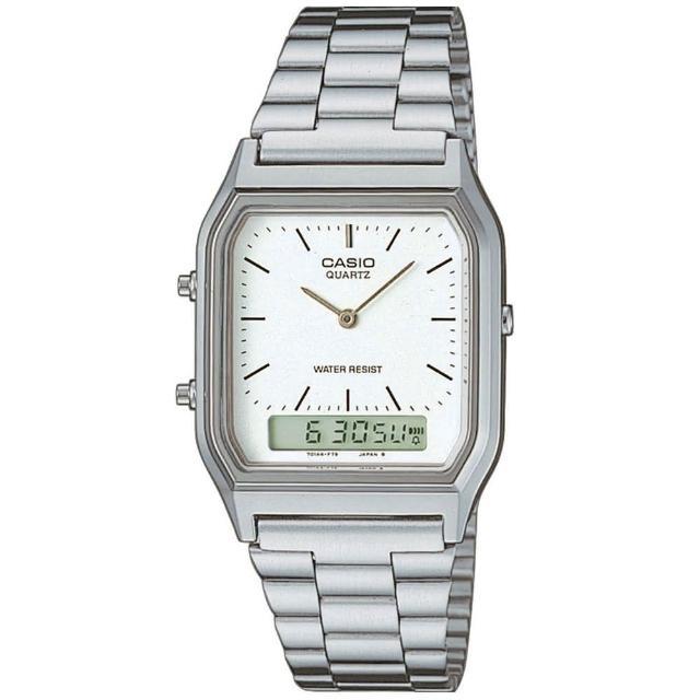 【CASIO】復古雙顯指針錶-羅馬白面(AQ-230A-7D)