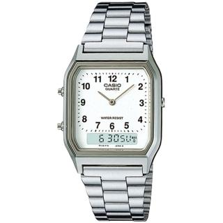 【CASIO】復古雙顯指針錶-數字白面(AQ-230A-7B)