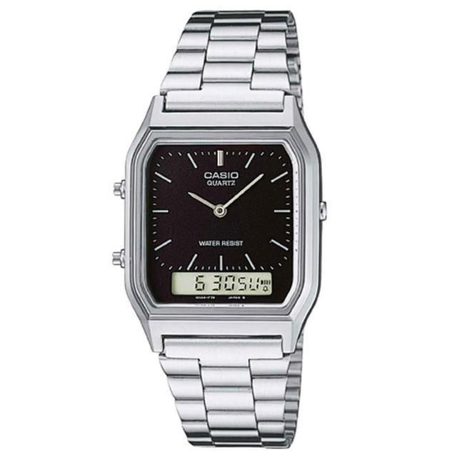 【CASIO】數位復古潮流商務雙顯錶-羅馬黑面(AQ-230A-1D)