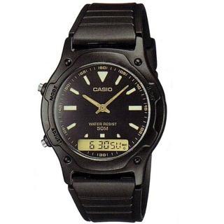 【CASIO】酷炫黑金雙顯腕錶-羅馬黑面X金(AW-49HE-1A)