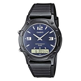 【CASIO】酷炫黑金雙顯腕錶-藍面(AW-49HE-2A)
