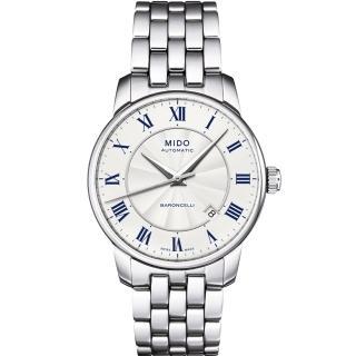 【MIDO】Baroncelli II 羅馬假期機械腕錶-銀/38mm(M86004211)
