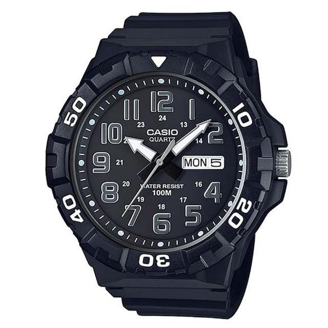 【CASIO】簡潔實用潛水風格系列數位錶-數字黑面(MRW-210H-1A)
