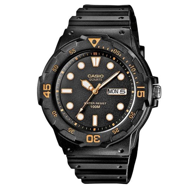 【CASIO】潛水風DIVER LOOK系列錶-黑X橘(MRW-200H-1E)