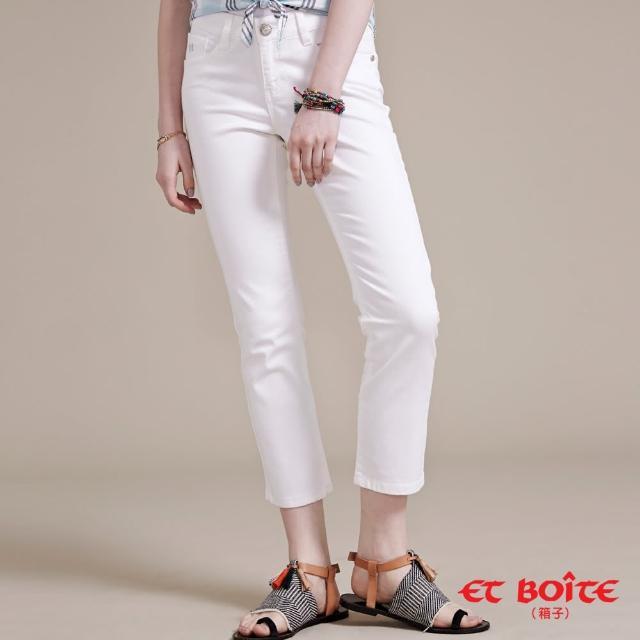 【ET BOiTE 箱子】海洋風白色九分直筒褲