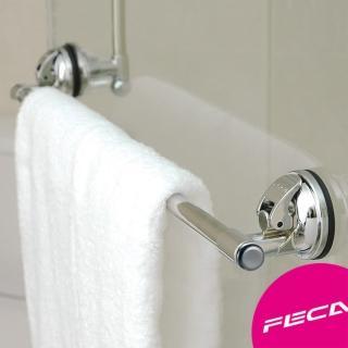 【FECA非卡】無痕強力吸盤不鏽鋼毛巾架(銀)