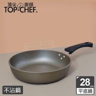 【頂尖廚師 Top Chef】鈦合金頂級中華28公分不沾平底鍋 贈和風木匙
