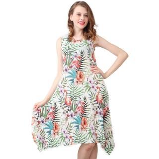 【玩美衣櫃】清甜花色印花圓領無袖壓摺洋裝