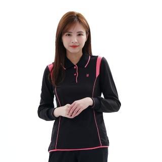 【遊遍天下】台灣製女款抗UV吸濕排汗機能POLO長衫 L127黑(M-5L)
