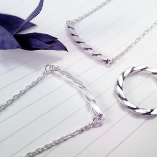 【ART64】方晶格麻花項鍊-銀白款(925純銀項鍊)