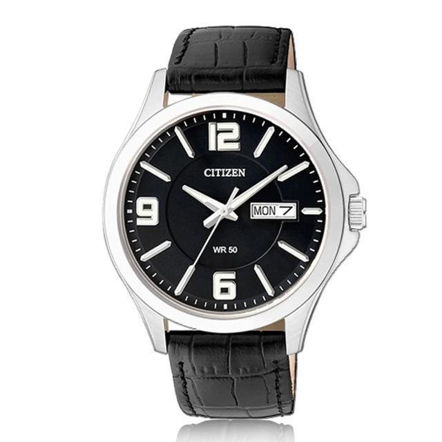 【CITIZEN 日系星辰】簡單大方 小牛皮錶帶 礦物玻璃 日期顯示 指針男錶(BF2001-04E)