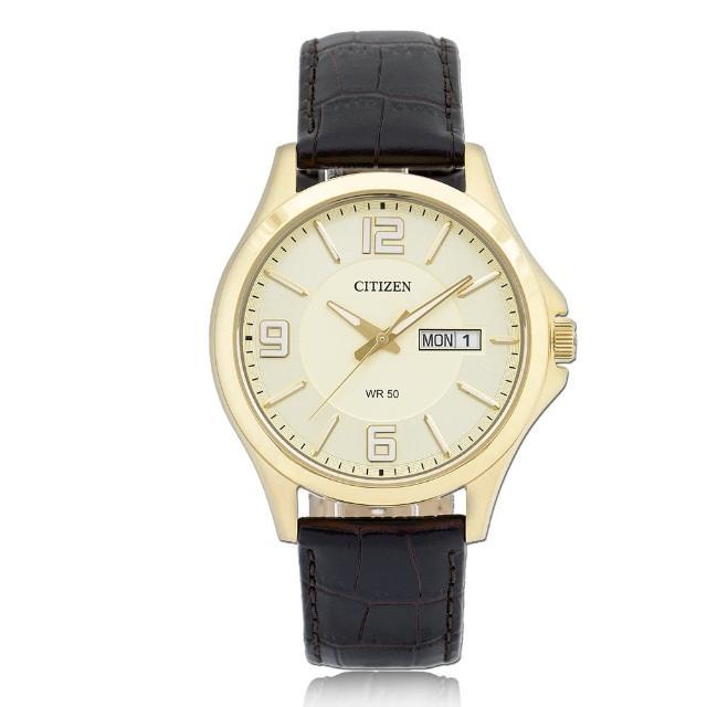 【CITIZEN 日系星辰】簡單大方 小牛皮錶帶 礦物玻璃 日期顯示 指針男錶(BF2003-09P)