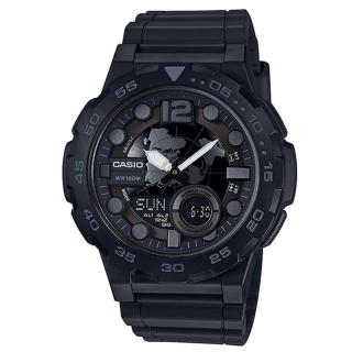 【CASIO】十年電力 世界地圖 多功能性雙顯錶(AEQ-100W-1B)