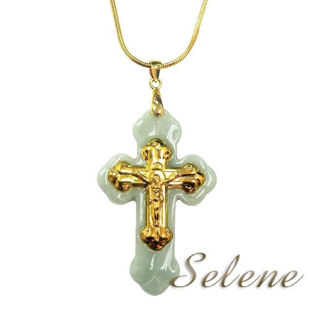 【Selene珠寶】玉鑲金翡翠十字架墜鍊(A貨翡翠)
