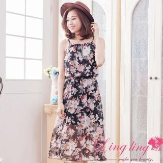 【lingling】任選印花雪紡細肩帶洋裝PA3014(慵懶黑)