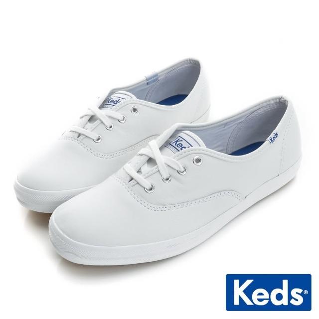 【Keds】品牌經典皮質綁帶休閒鞋(白)