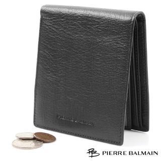 【PB皮爾帕門】自然皮紋頭層牛皮真皮 短夾 黑(8卡2照2夾)