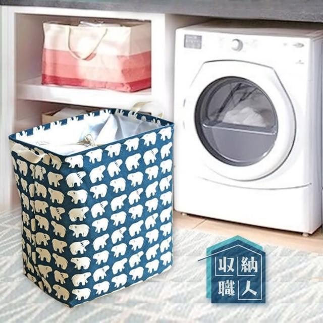 【收納職人】北歐童話棉麻方型束口折疊收納籃/洗衣籃/髒衣籃(一入)