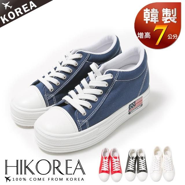 【HIKOREA韩美鞋】正韩空运。增高7cm经典帆布美国国旗休闲厚底增高鞋(7-2700/现货)