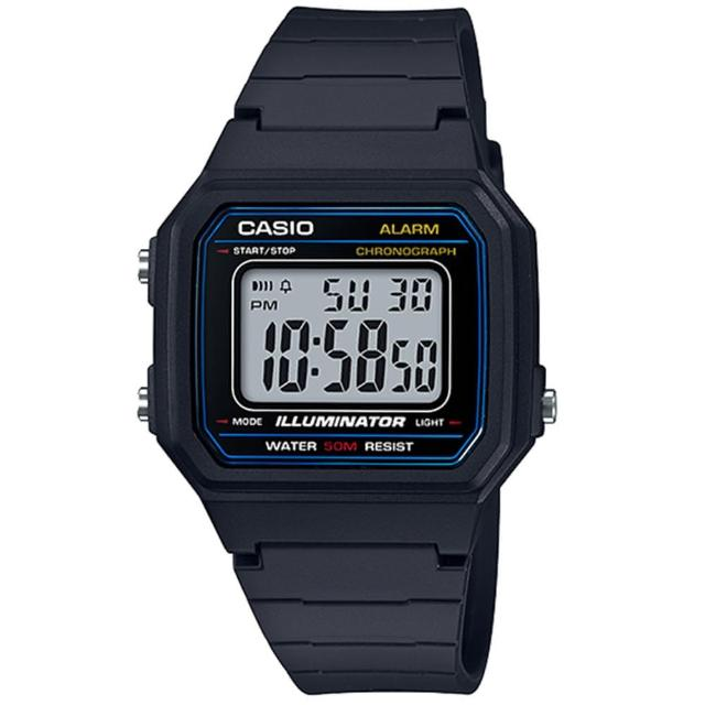 【CASIO 卡西歐】經典方形多功能數位運動錶(W-217H-1AVDF)