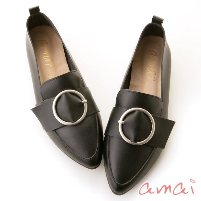 【amai】親膚皮革-時尚霧面圓環尖頭樂福鞋(黑)
