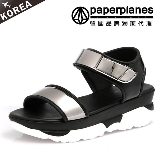 【PAPERPLANES韓國涼鞋】正韓空運。漆皮光感一字寬帶厚底涼鞋(7-241黑/現+預)