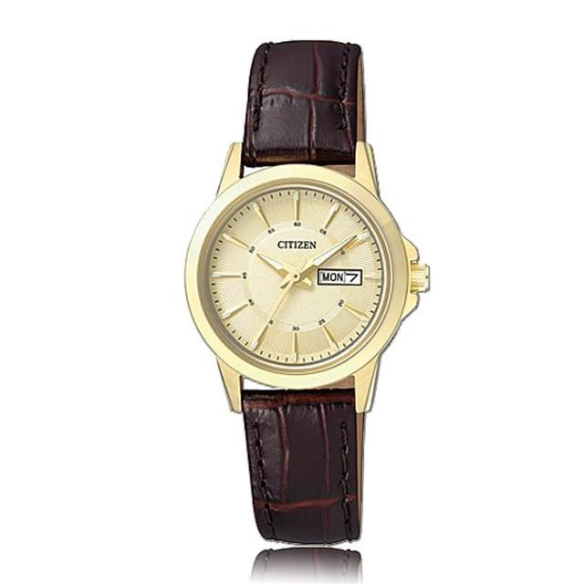 【CITIZEN 日系星辰】氣質婉約 皮革錶帶 礦物玻璃鏡面 日期顯示 指針女錶(EQ0603-08P)