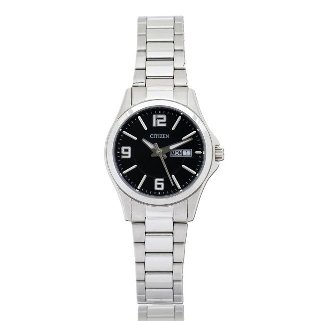 【CITIZEN 日系星辰】簡約時尚 不鏽鋼錶帶 日期星期顯示 防水 指針女錶(EQ0591-56E)