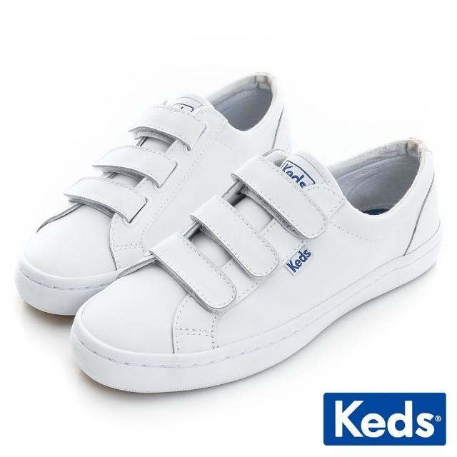 【Keds】時尚運動魔鬼氈皮質休閒鞋(白)